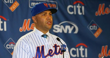 Carlos Beltran talks after being introduced as manager of the New York Mets during a press conference at Citi Field on November 4, 2019 in New York City