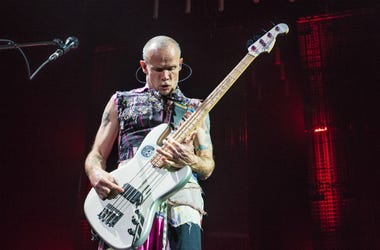 """Musician Michael """"Flea"""" Balzary of the Red Hot Chili Peppers performs at Oracle Arena on March 12, 2017"""