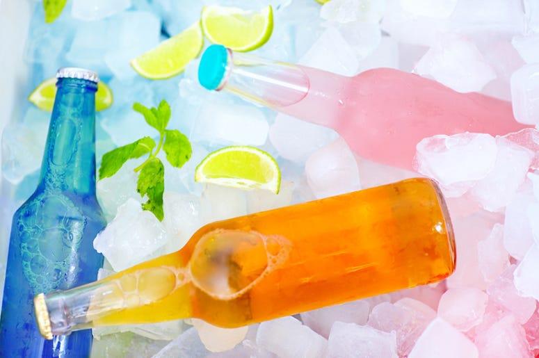 bottles on ice