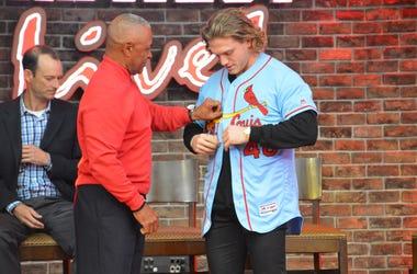 Harrison Bader wearing the new Cardinals powder blue jersey.