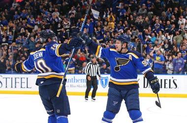 Goal celebration from St. Louis Blues.