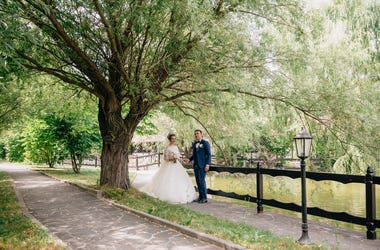 newlyweds by tree