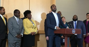 Meek Mill speaks at the National Constitution Center on criminal justice reform.