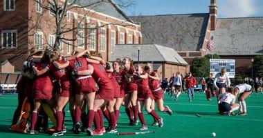The Saint Joseph's University field hockey team celebrating.