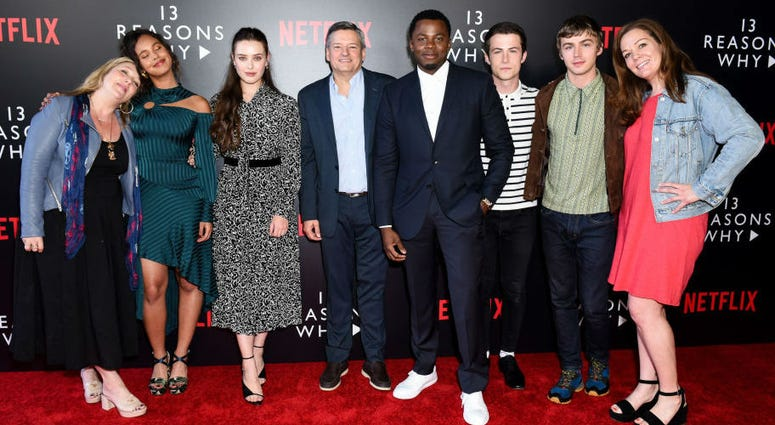 "Alisha Boe, Katherine Langford, Derek Luke, Dylan Minnette, Miles Heizer and producers attend #NETFLIXFYSEE Event For ""13 Reasons Why"" Season 2 - Arrivals at Netflix FYSEE At Raleigh Studios on June 1, 2018 in Los Angeles, California."