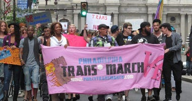 Marchers are shown at the 2015 Philadelphia Trans March.
