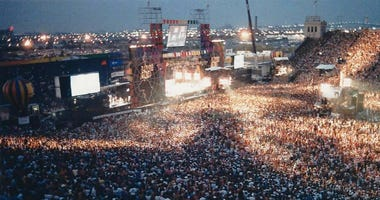 An estimated 100,000 people attended the Philadelphia half of Live Aid at John F. Kennedy Stadium in South Philly, on July 13, 1985.