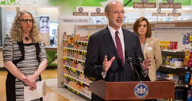 Gov. Tom Wolf discusses the availability of naloxone in Pennsylvania pharmacies during a press conference in Harrisburg, May 17, 2016.