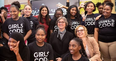 First Lady Frances Wolf joins Girls Who Code CEO Reshma Saujani at William D. Kelley School to highlight investment in STEM education for young women.