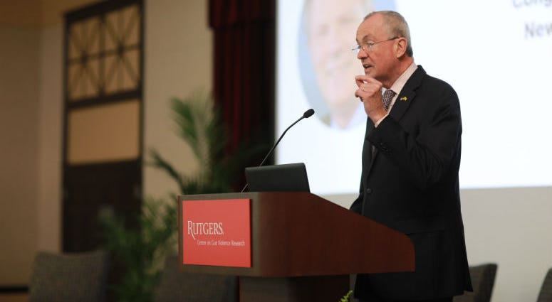 """Governor Phil Murphy holds opening remarks in """"Preventing Gun Violence in NJ: A Call to Action"""" hosted by the gun violence research center on Tuesday April 23, 2019."""