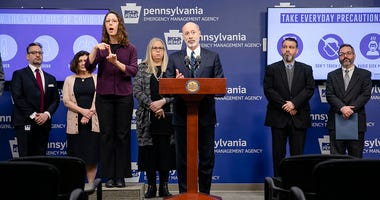 Gov. Tom Wolf at a press conference about COVID-19.
