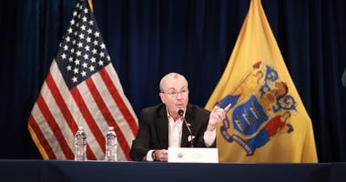 Governor Phil Murphy holds a coronavirus briefing in Trenton on March 18, 2020.