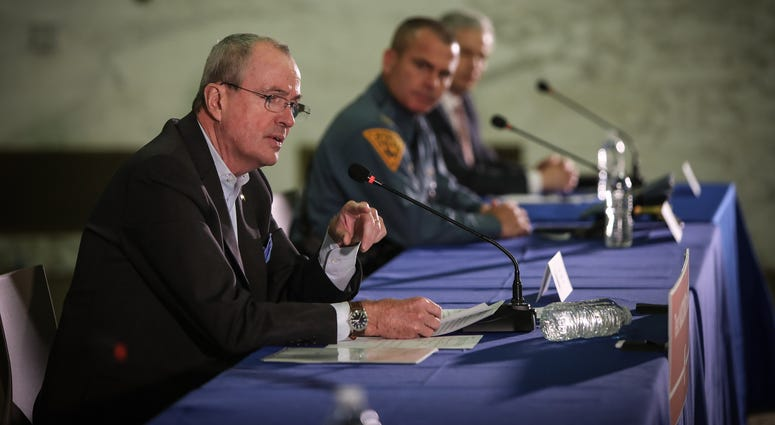 Governor Phil Murphy holds a coronavirus briefing in Newark on March 24, 2020.