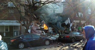The scene Thursday following an explosion in South Philadelphia.
