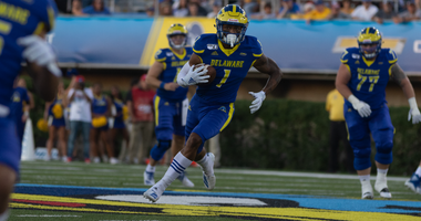 Delaware WR Thyrick Pitts had six catches including a touchdown in the season opening win over Delaware State.
