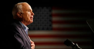 In this Oct. 11, 2008, file photo, Republican presidential candidate Sen. John McCain, R-Ariz., speaks at a rally in Davenport, Iowa.