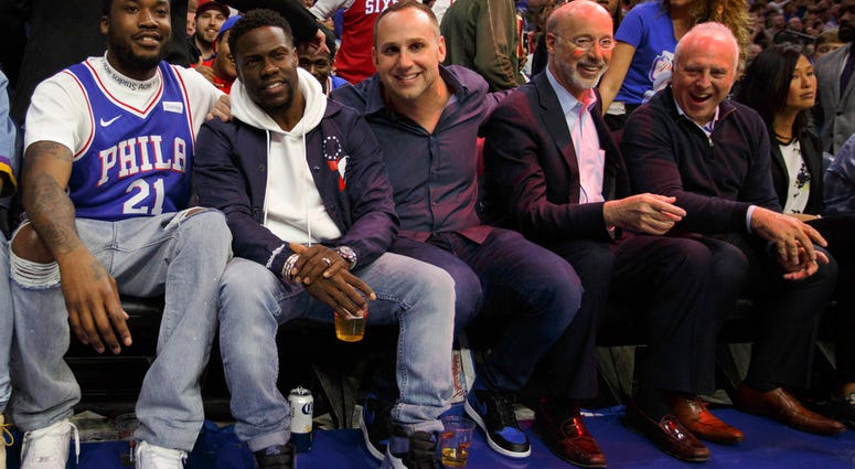 Rapper Meek Mill, left, watches the game with actor Kevin Hart, Philadelphia 76ers co-owner Michael Rubin, Gov. Tom Wolf, and Eagles owner Jeffrey Lurie.