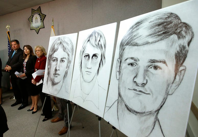 Law enforcement drawings of a suspected serial killer believed to have committed at least 12 murders across California in the 1970's and 1980's are displayed at a news conference.