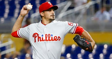 Philadelphia Phillies' Zach Eflin delivers a pitch during the first inning of the team's baseball game against the Miami Marlins.