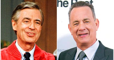 "Fred Rogers as he rehearses the opening of his PBS show ""Mister Rogers' Neighborhood"" in Pittsburgh on June 28, 1989, left, and Tom Hanks at the London premiere of the film 'The Post ' on Jan. 10, 2018."