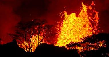 Lava erupts inside Leilani Estates near Pahoa, Hawaii.