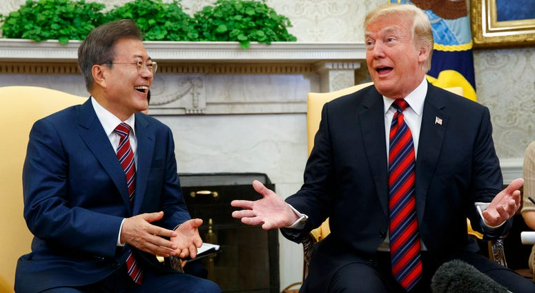 President Donald Trump meets with South Korean President Moon Jae-In in the Oval Office of the White House.