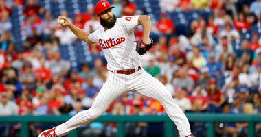 Philadelphia Phillies' Jake Arrieta pitches during the third inning of a baseball game against the Atlanta Braves.