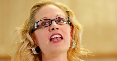 U.S. Rep. Kyrsten Sinema, D-Ariz. speaks prior to delivering her signatures to the Arizona Secretary of State's office.