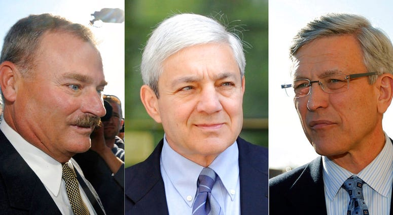 This file photo combination shows former Penn State vice president Gary Schultz, left, former Penn State athletic director Tim Curley, right, and former Penn State President Graham Spanier, center, in Harrisburg, Pa.