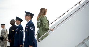First lady Melania Trump boards a plane at Andrews Air Force Base, Md., Thursday, June 21, 2018, to travel to Texas to visit the U.S.-Mexico border.