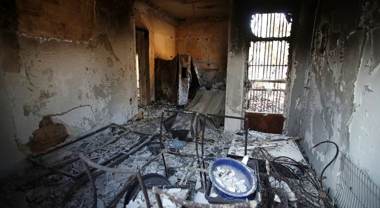 The burned kitchen of a house is seen in Mati, east of Athens, Wednesday, July 25, 2018.