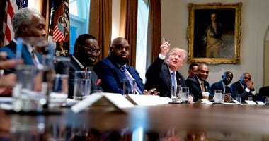President Donald Trump points up to heaven as he speaks during a meeting with inner city pastors in the Cabinet Room of the White House in Washington, Wednesday, Aug. 1, 2018.