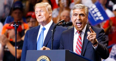 Republican Senate candidate Rep. Lou Barletta, R-Pa., speaks as President Donald Trump listens during a rally, Thursday, Aug. 2, 2018, at Mohegan Sun Arena at Casey Plaza in Wilkes Barre, Pa.
