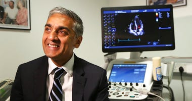 Dr. Sanjay Sharma, professor of cardiology at St. George's University of London, speaks during an interview on Wednesday Aug. 8, 2018 about a study he led which found procedures that can help identify athletes who are at risk for heart-problems.