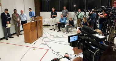 From left, media witnesses Joe Duggan of the Omaha World-Herald, Chip Matthews of News Channel Nebraska, Brent Martin of Nebraska Radio Network and Grant Schulte of The Associated Press answer questions after the execution of Carey Dean Moore.