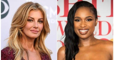 This combination photo shows Faith Hill at the 52nd annual Academy of Country Music Awards in Las Vegas on April 2, 2017, left, and Jennifer Hudson at the Brit Awards 2018 in London on Feb. 21, 2018.