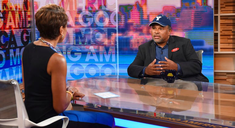 """This image released by ABC shows co-host Robin Roberts, left, with """"The Cosby Show"""" actor Geoffrey Owens during an interview on """"Good Morning America,"""" Tuesday, Sept. 4, 2018, in New York."""