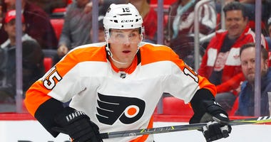 In this Jan. 23, 2018, file photo, Philadelphia Flyers center Jori Lehtera (15) plays against the Detroit Red Wings duriing the first period of an NHL hockey game in Detroit.