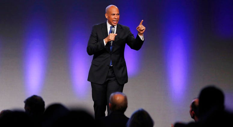 U.S. Sen. Cory Booker, D-N.J., speaks during the Iowa Democratic Party's annual Fall Gala, Saturday, Oct. 6, 2018, in Des Moines, Iowa.