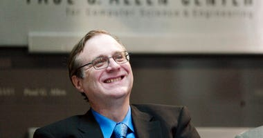 FILE - In this Oct. 9, 2003 file photo, Paul Allen, Microsoft co-founder for the dedication of the Paul G. Allen Center for Computer Science and Engineering at the University of Washington in Seattle.