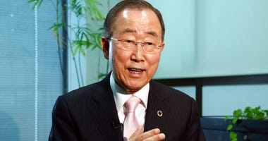 Former U.N. Secretary-General Ban Ki-moon speaks during an interview with the Associated Press in Tokyo, Monday, Dec. 3, 2018.