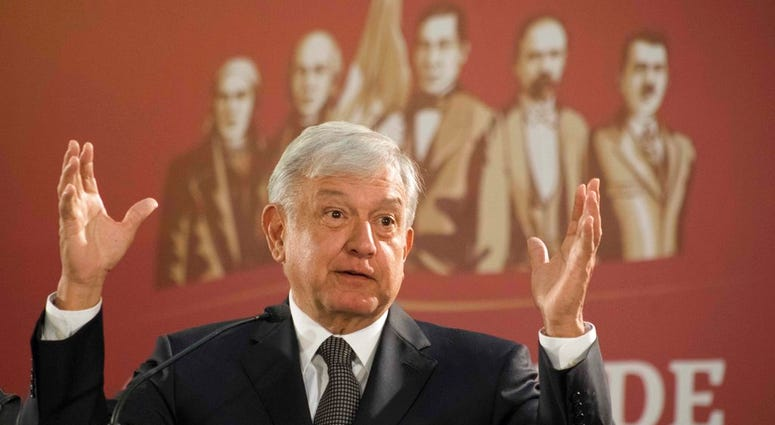 Mexico's President Andres Manuel Lopez Obrador holds his first news conference as president, which started at 7 a.m. local time in Mexico City, Monday, Dec. 3, 2018.