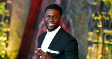 """FILE - In this Dec. 11, 2017 file photo, Kevin Hart arrives at the Los Angeles premiere of """"Jumanji: Welcome to the Jungle"""" in Los Angeles."""