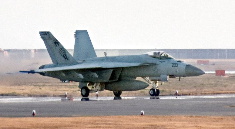 This March, 2018, photo shows a F/A-18 jet at United States Marine Corps air station in Iwakuni, western Japan.