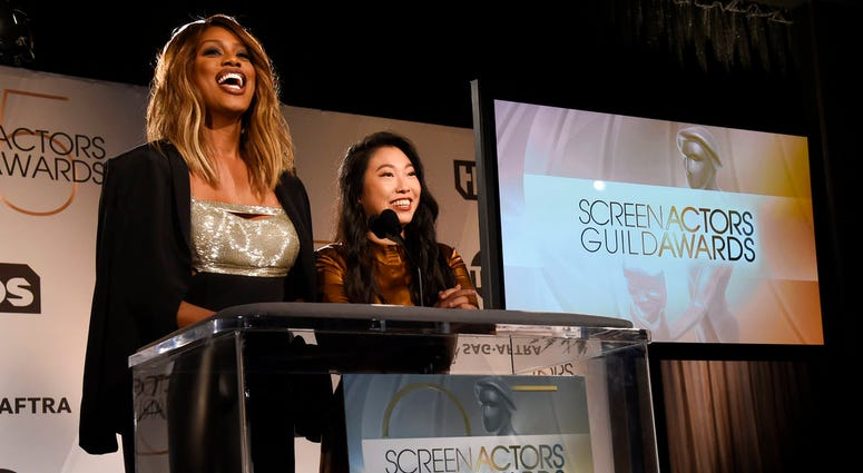 Presenters Laverne Cox, left, and Awkwafina announce nominations for the 25th annual Screen Actors Guild Awards at the Pacific Design Center on Wednesday, Dec. 12, 2018, in West Hollywood, Calif.