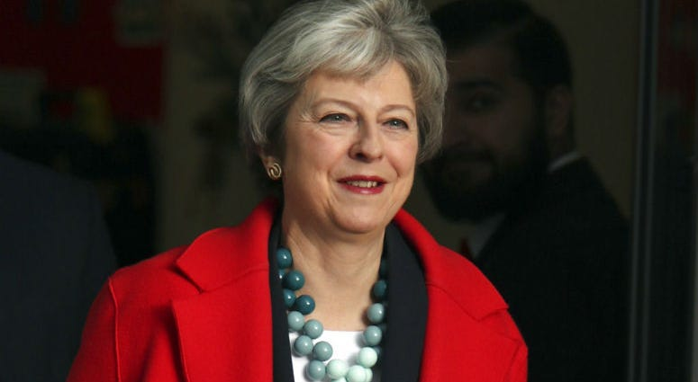 British Prime Minister Theresa May leaves BBC Broadcasting House in London after appearing on the Andrew Marr show, Sunday, Jan. 6, 2019.