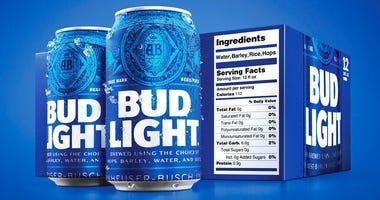 Bud Light nutrition label