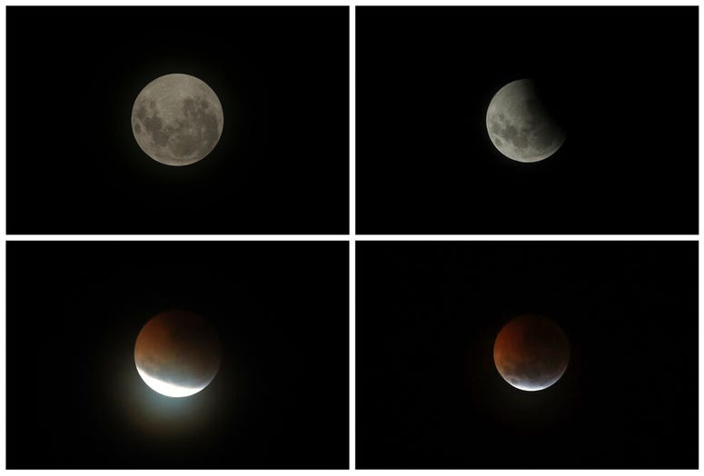 The moon at the four different moments during a total lunar eclipse in Brasilia, Brazil.