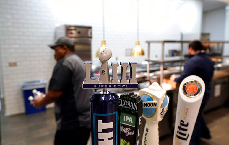 A Super Bowl LIII logo beer tap is shown during a tour of Mercedes-Benz Stadium for the NFL Super Bowl 53 football game Tuesday, Jan. 29, 2019, in Atlanta.