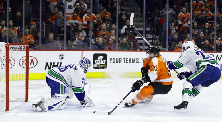 Philadelphia Flyers' Jakub Voracek (93) scores a goal against Vancouver Canucks' Jacob Markstrom (25) as Alexander Edler (23) defends during the second period of an NHL hockey game, Monday, Feb. 4, 2019, in Philadelphia.
